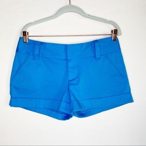 Alice + Olivia Mid Rise Hemmed Cuff Shorts Blue 8